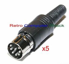 Commodore & Sega 8 Pin U Din Video Plug x5 Horseshoe type DIN 41524 Solder Pins