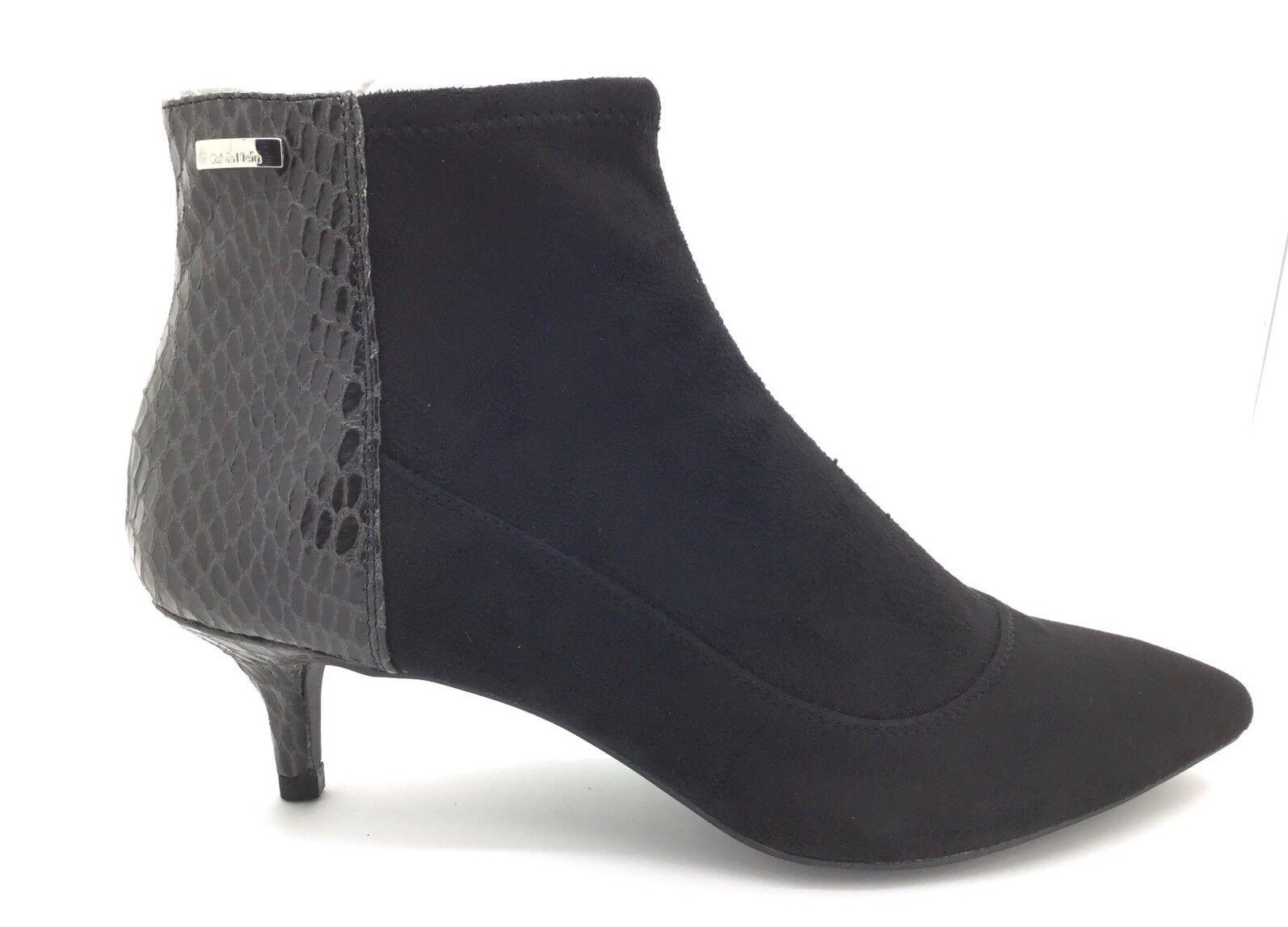 Zapatos de mujer baratos zapatos de mujer Calvin Klein Norma Stretch/Piel De Serpiente Tacón De Gamuza Delgada Negro