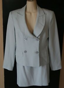 0b86d5f1c73 Details about Hugo Buscati Collection Gray Double Breasted Skirt Suit Set  Size 8 Womens