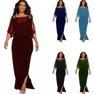 Plus Size Women Maxi Dress Cold Shoulder Chiffon Evening Party