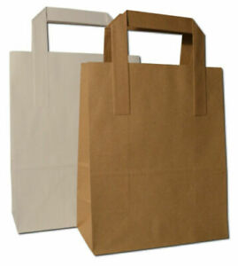 White Brown Kraft Paper Food Carrier Bags Gift Party Takeaway with Flat Handles