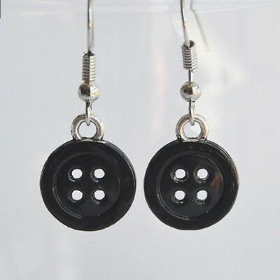 Black Buttons Earrings Stainless Steel Hooks Coraline Inspired Ebay