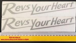 2x Silver 255mm Stickers Decal Revs Your Heart Suitable For Yamaha Bike