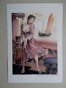 "Milo Manara ( Art Print ) "" Le Bateau  "" , Belle signature au Crayon"
