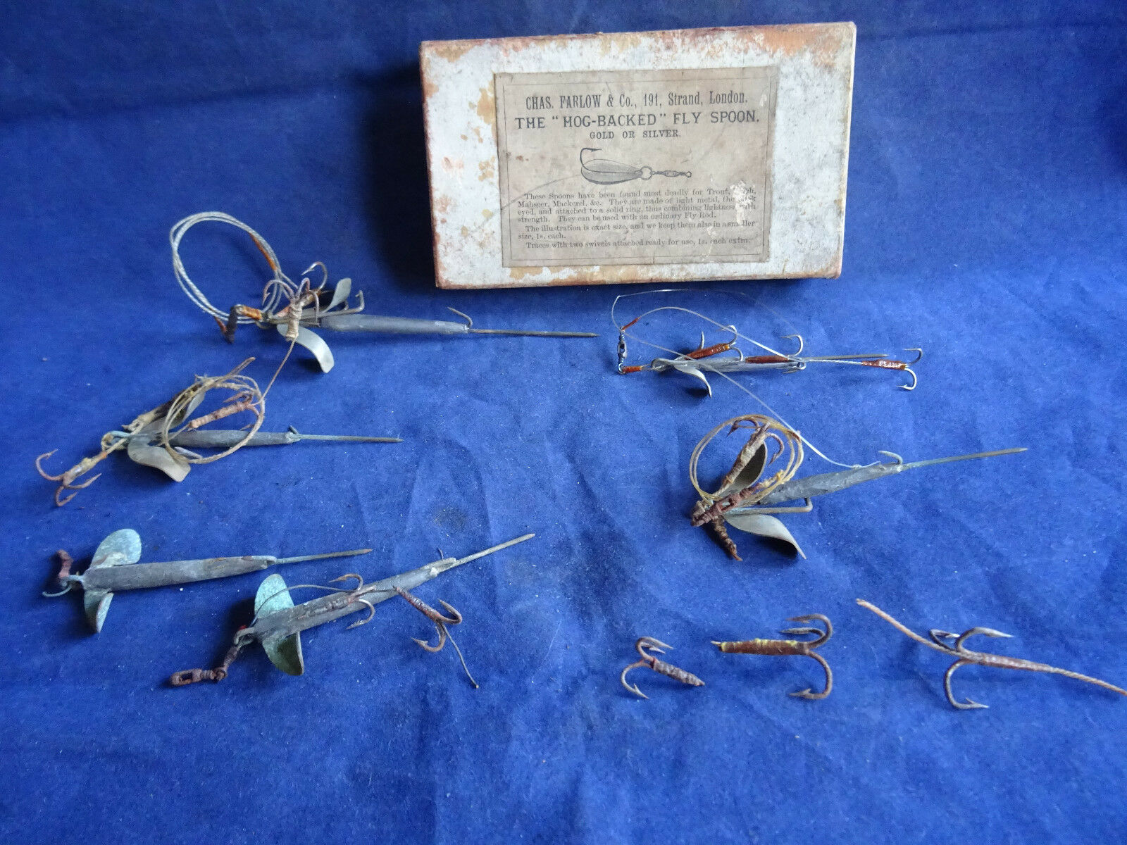 Una tarde Victoriano C Farlow & Co 191 la hebra tarjeta Señuelos Estaño + Chapman Señuelos Mounts