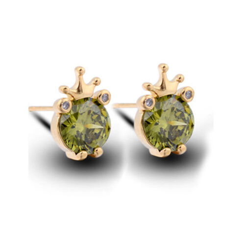big Zircon Couronne Grenouille plaqué or piercing Animal Clous D/'Oreilles 4 Couleurs AAA