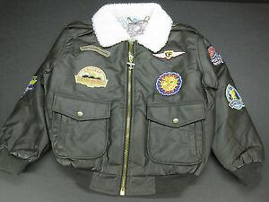 NEW! Disney Brown Faux Leather FlightLine Bomber Jacket Boys 10-12 ...
