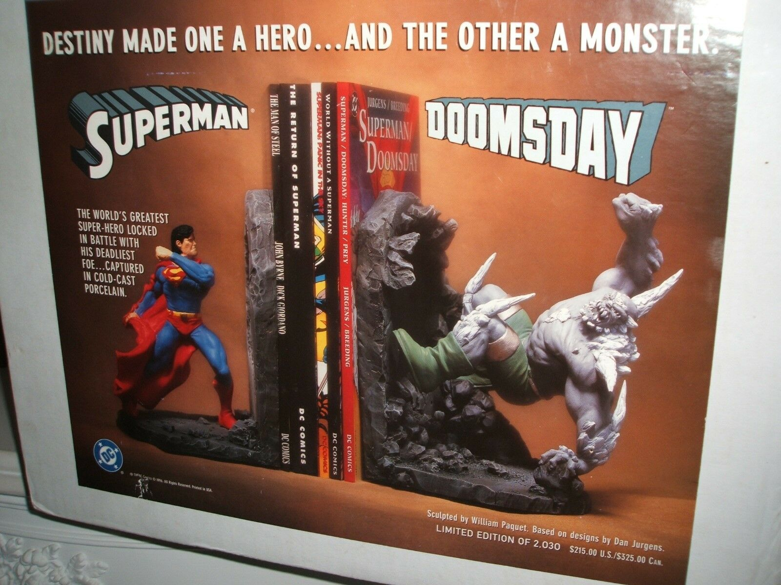 DC COMICS SUPERMAN DOOMSDAY BOOK ENDS NEW IN BOX LTD ED OF 2030 RARE