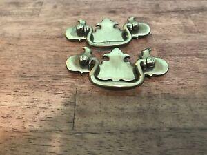 Vintage Lot of 2 Brass Drawer drop Pulls & 1 Door , Dresser Handles Gold tone
