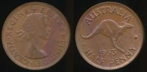 Australia-1953-p-Halfpenny-1-2d-Elizabeth-II-Uncirculated