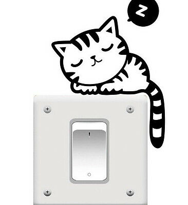 FD774 Cat Cute Nap Pet Light Switch Funny Wall Decal Vinyl Stickers Black ~1pc~#