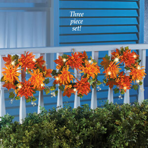 Image Is Loading 3 Pc Solar Lighted Mums Wreath Outdoor Porch
