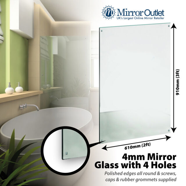 Large Bathroom Mirror With 4 Holes Polished Edges 4mm 3 X 2ft 91 X