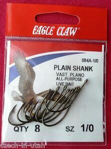 168 Hooks -- Eagle Claw Plain Shank Offset Hook Bronze 084A-1/0 (21 x 8 piece)