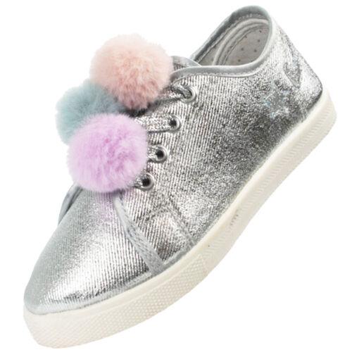 Ragazze Bambini Argento PON PON Sparkly Glitter Scarpe Da Ginnastica Skater Scarpe Fashion