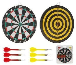 37cm-Grand-Double-Face-Cible-avec-6-Darts-Tenture-Murale-Crochet-Dart-Board