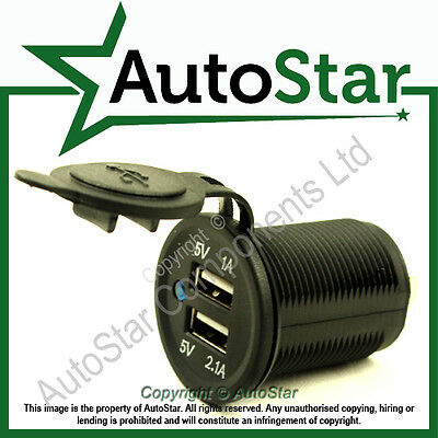 USB Socket Mount 'A' 12/24v Double Port Motorcycle Accessory Power Outlet Socket