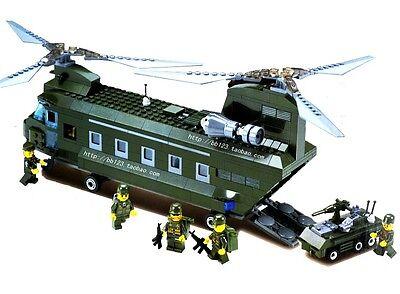 Kazi Sluban Building Blocks Field Army Military Transport Helicopter(Lego Style)