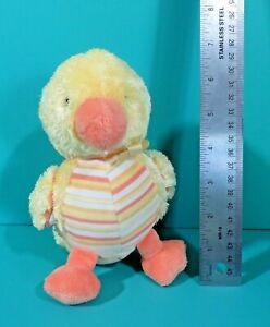 "CARTERS PLUSH 7/"" CHICK DUCK RATTLE YELLOW ORANGE DOTS BABY BROWN BOW LOVEY"
