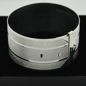 1949-Vintage-Wide-amp-Heavy-Adjustable-Belt-Bangle-Bracelet-in-Solid-925-Silver