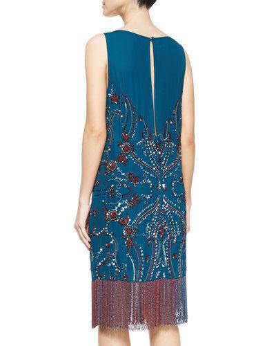 Haute Hippie Embellished Beaded Silk Dress with Fringe    Size S