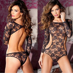 Womens-Black-Lace-Lingerie-Dress-Underwear-Sleepwear-Babydoll-G-string-sexy-COH