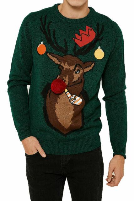 SoulStar Mens Jumper Mens Stag Deer Stag Xmas Christmas Knitwear Crew Neck Navy
