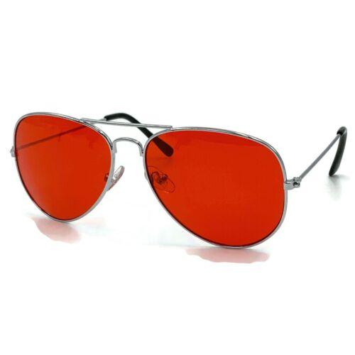 70/'s Glasses Red Tint Lens Aviator Sunglasses Pilot Classic Silver Metal Frame