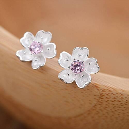 1 Pair  Elegant Cherry Blossom Small Fresh Stud Earrings Fashion Zircon Jewelry
