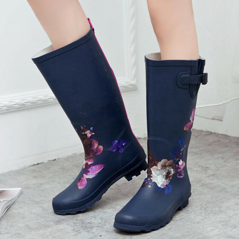 Women's Printed Waterproof Knee Mid High Tall Slim Knee High Boot Rainboot shoes