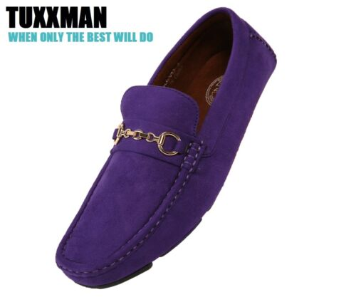 Mens Mardi Gras Shoe Driving Loafers Purple Gold Chain Party Fat Tuesday TUXXMAN