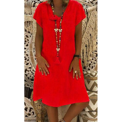V Neck Mini Sleeve Short Dress Outdoor Long Plain Plus Women Shirt Sundress