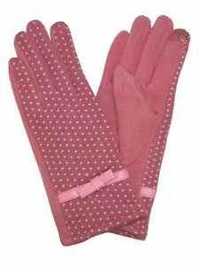 Womens-Pink-Polka-Dot-Bow-Stretch-Fit-Texting-amp-Tech-Touchscreen-Gloves