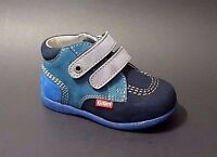 New $80 KICKERS Toddler Boys Shoes Boots Blue LEATHER Fashion Size 5 USA/21 EURO