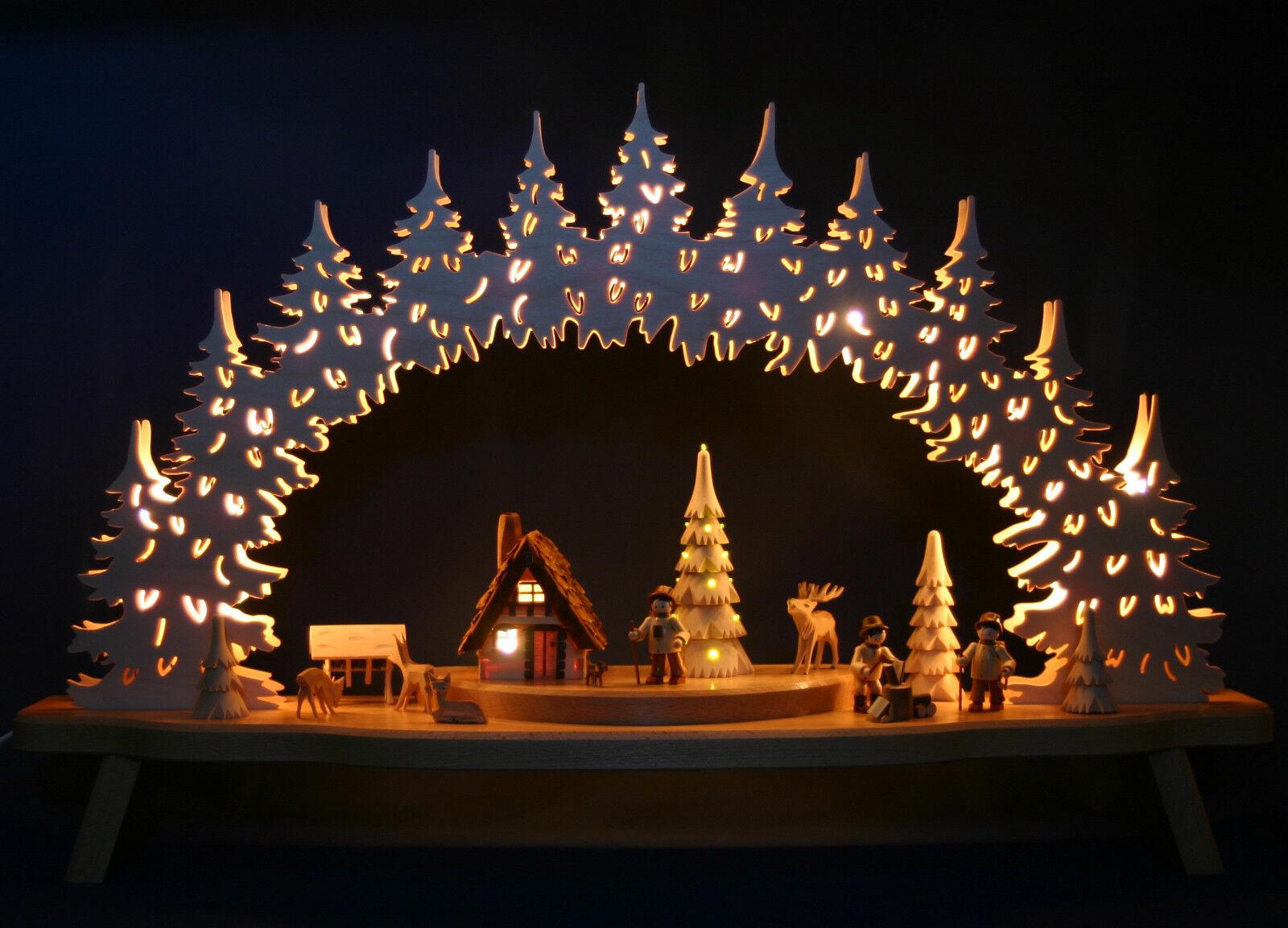 Großer 80cm 3D-Schwibbogen Waldmotiv geschnitzt geschnitzt geschnitzt & LED-Weihnachtsbaum Erzgebirge | Ruf zuerst  51ca49
