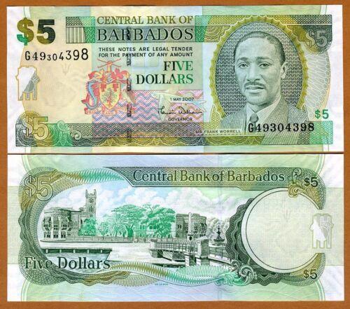 P-67a UNC $5 2007 Barbados