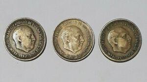 Vintage-3-Coin-Spain-1947-1953-1963-Una-Peseta-Francisco-Franco-collection