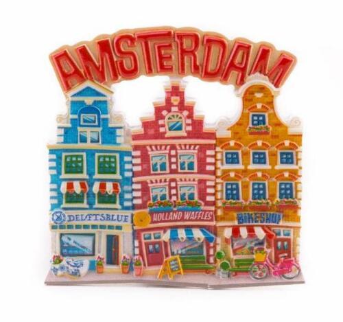 Amsterdam Poly Magnet 8 cm Grachten Häuser Holland Niederlande Souvenir (15613)