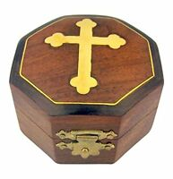 Brown Wood Rosary Jewelry Keepsake Treasure Box With Gold Budded Cross, New, Fre on sale