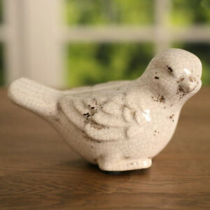 3 x Birds Ceramic Antiqued Style Green Home Decor Gift Homewares 6.5cms New