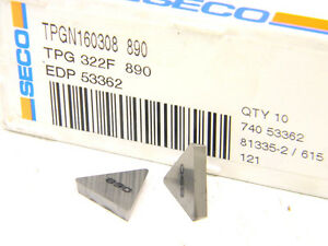 10-NEW-SURPLUS-CARBOLOY-SECO-USA-TPG-322-F-890-CARBIDE-INSERTS-TPG-160308
