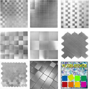 Mosaik-selbstklebend-silber-metall-Kuechenrueckwand-Fliesenspiegel-DEKO-SILVANO
