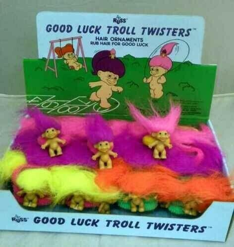 8 RUSS Good Luck Troll~Hair Bobble~Scrunchie~Band~Vintage~Stocking Filler~NEW
