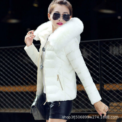 Coat Collar Quilted Women/'s Parka Jacket New Winter Fur Short Cotton Down Hooded