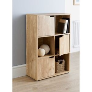 Details About Turin 6 Cube Oak Wood Finish Shelf Shelving Books Toys Living Room Storage Unit