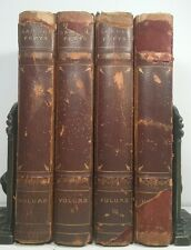DIARY OF SAMUEL PEPYS~Antique 4 Leather Book Complete Set~Old Decorative Lot