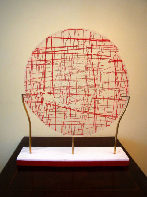 Murano, Glasobjekt, Fadeneinschmelzungen, signiert und bez. Murano 74, H. 44 cm.