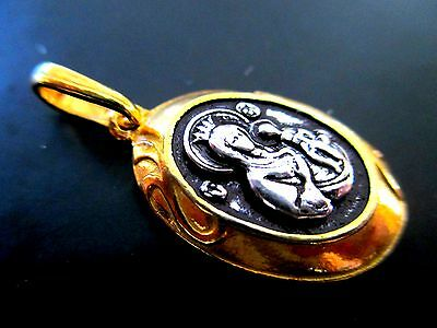 ORTHODOX STERLING SILVER 925+999 GOLD PENDANT ICON MEDAL FROM JERUSALEM #R44