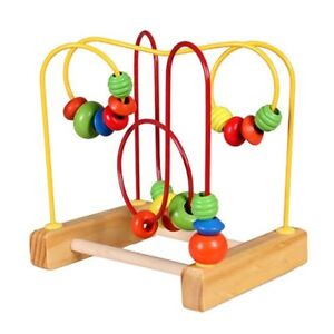 Fun-Toddler-Baby-Colorful-Wooden-Mini-Around-Beads-Wire-Maze-Educational-uO