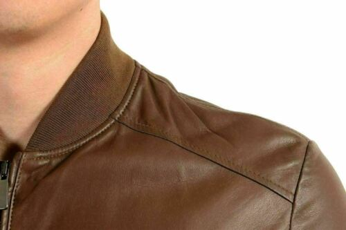 Malo 100% Leather Brown Full Zip Men\'s Basic Jacket US XL IT 54